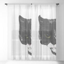 Curious Black Cat on White Background  #decor #society6 #buyart Sheer Curtain