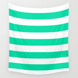 Asda Green (1985) - solid color - white stripes pattern Wall Tapestry