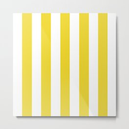 Margarine yellow - solid color - white vertical lines pattern Metal Print