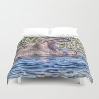 hippo Duvet Covers featuring Painted Hippo by MehrFarbeimLeben