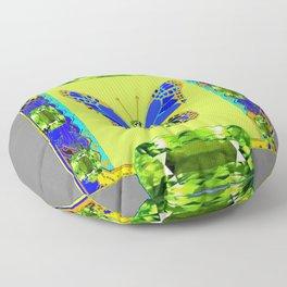 BLUE & GREEN  BUTTERFLY PERIDOT GEMMED GEOMETRIC Floor Pillow