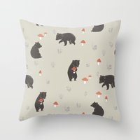 bears Throw Pillows featuring Bears by A.Vogler