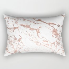 Modern chic faux rose gold white marble pattern Rectangular Pillow