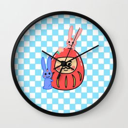 Embracing the Daruma (with blue little windows) Wall Clock
