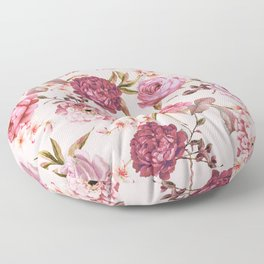 Blush Pink and Red Watercolor Floral Roses Floor Pillow