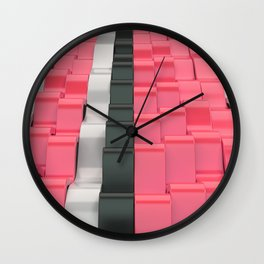 Black, white and red sine waves Wall Clock