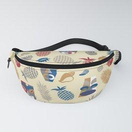 tiki masks light yellow seamless pattern Fanny Pack