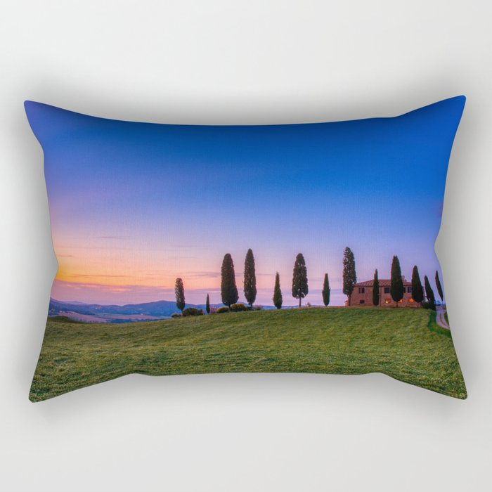 Cypress trees and meadow with typical tuscan house Rectangular Pillow