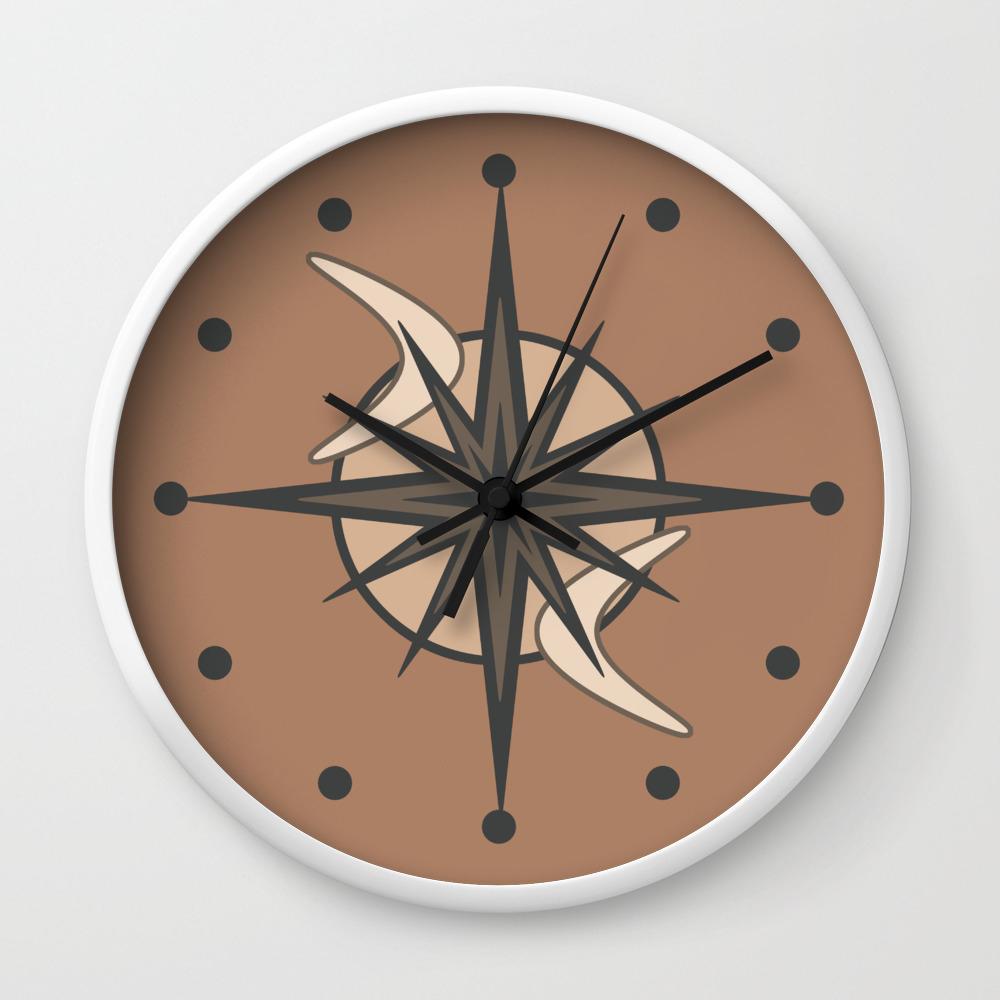 Image of: Mid Century Modern Sputnik Starburst Sepia Wall Clock By Zennykenny Society6