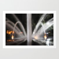 Fountain/Water/Night Art Print