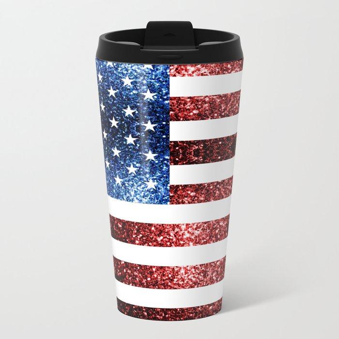 USA flag red blue sparkles glitters Metal Travel Mug
