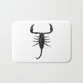 Scorpion Digital Watercolor, Creepy Insect Arachnid, Black and White Bath Mat