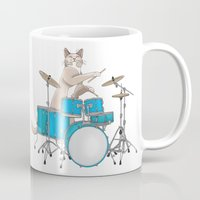 drums Mugs featuring Cat Playing Drums - Blue by Ornaart