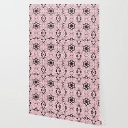 Blushing Bride Floral Geometric Pattern Wallpaper