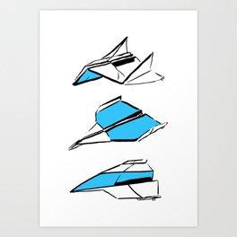 Paper Planes: Blue Art Print