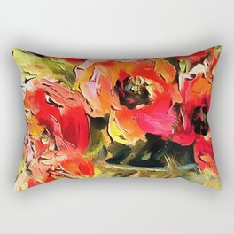 Poppies In A Glass Vase Black Outline Art Rectangular Pillow