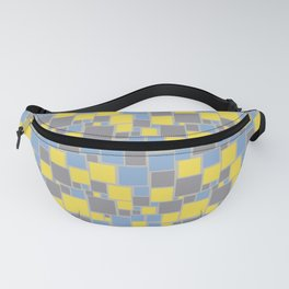 Yellow Gray Blue Funky Mosaic Pattern V8 Color of the Year 2021 Illuminating and Ultimate Gray Fanny Pack