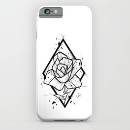 Flower Handmade Drawing, Made in pencil and ink, Tattoo Sketch, Tattoo Flash, Blackwork iPhone Case