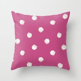 Round Bunny Pattern White Pink Throw Pillow