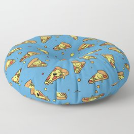 Cute Happy Smiling Pizza Pattern on blue background Floor Pillow