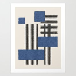 Stripes and Square Blue Composition - Abstract Art Print