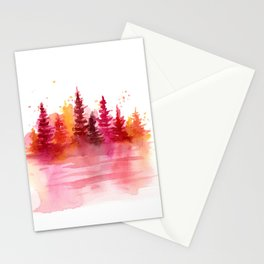 Autumn Woods Watercolor Stationery Cards