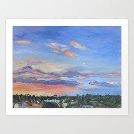 Sunset, Houston, TX, oil on canvas, 46 x 61 cm, 2016 Art Print