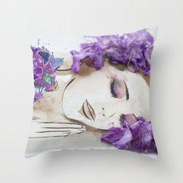 floral bugambilia woman Throw Pillow