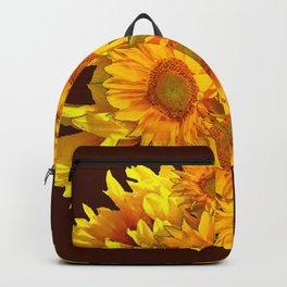 YELLOW SUNFLOWERS CHOCOLATE GARDEN ART Backpack