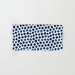 Large Indigo/Blue Watercolor Polka Dot Pattern Hand & Bath Towel