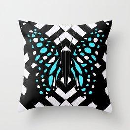 Hazy blue butterfly Throw Pillow