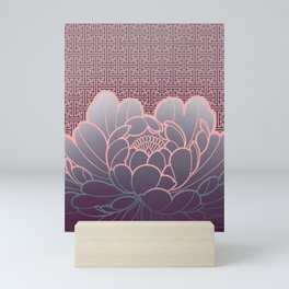 peony flower on sayagata background Mini Art Print