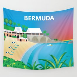 Bermuda - Skyline Illustration by Loose Petals Wall Tapestry