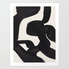 Mid Century Modern Minimalist Abstract Art Brush Strokes Black & White Ink Art Maze Art Print