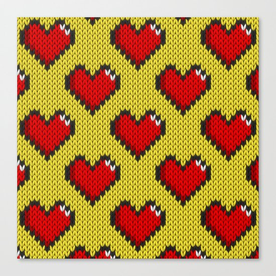 Knitted heart pattern - yellow Canvas Print