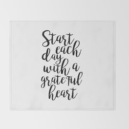 printable poster,start each day with a grateful heart,office wall art,office decor,positive vibes Throw Blanket