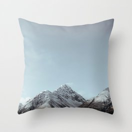 Snow Capped Mountain With Wind Blowing Snow Off Throw Pillow