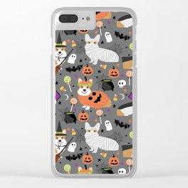 Corgi halloween costume ghost mummy vampire howl-o-ween dog gifts Clear iPhone Case