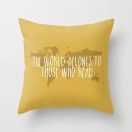the world belongs to those who read yellow throw pillow