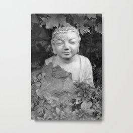 Buddha back and white Metal Print