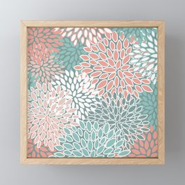 Festive, Floral Prints, Teal and Coral, Abstract Art Framed Mini Art Print