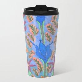 Lush Blue Bohemian Floral Garden Travel Mug