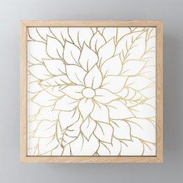 Gold faux foil chic floral elegant pattern Framed Mini Art Print