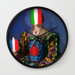 French Italian Pop Remix of Classical Painting of Bronzino Wall Clock