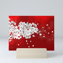 Red skies and white sakuras Mini Art Print
