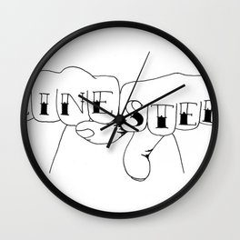 zinester knuckles (black & white) Wall Clock