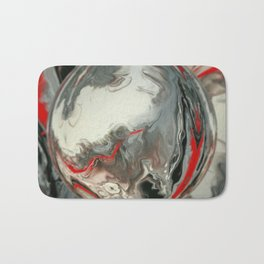 No Dice Black, Silver and Red Digital Sphere Design Bath Mat