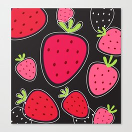 Black Red LOVE Strawberries wild Canvas Print