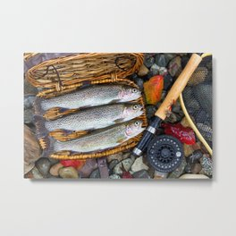 Creel with Native Trout on fishing stream Metal Print