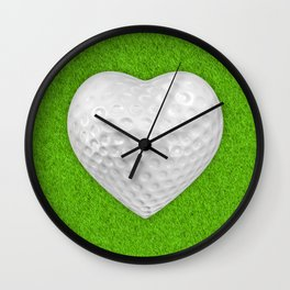 Golf ball heart / 3D render of heart shaped golf ball Wall Clock